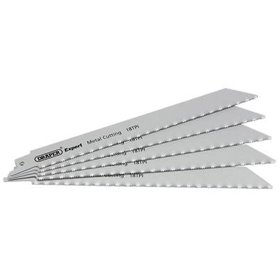 Draper Expert 150mm 18tpi HSS Reciprocating Saw Blades for Metal Cutting - Pack of 5 Blades