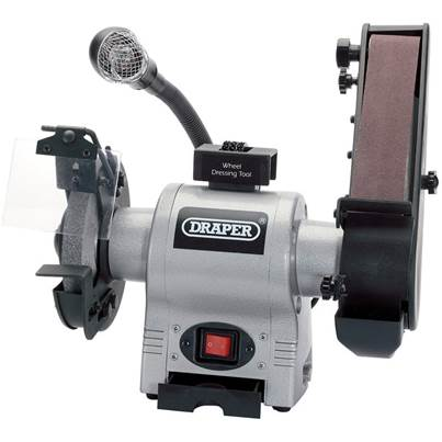 Draper 150mm Bench Grinder with Sanding Belt and Worklight (370W)
