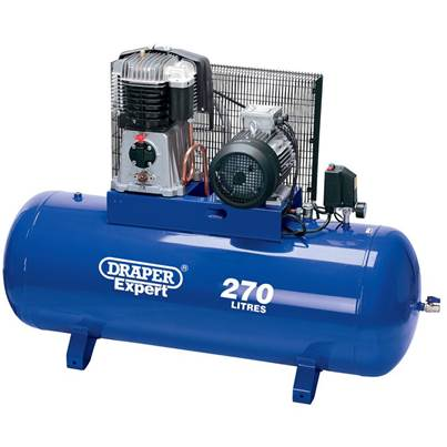 Draper 415V 270L Stationary Belt-Driven Air Compressor (5.5kW)