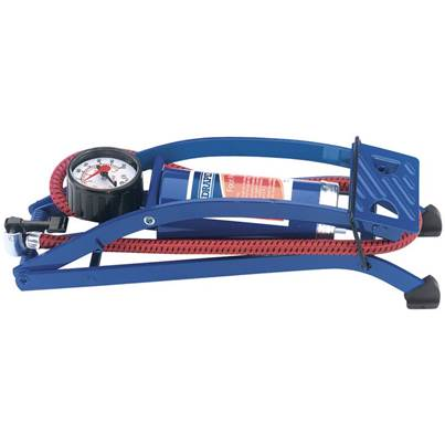 Draper Single Cylinder Foot Pump with Pressure Gauge