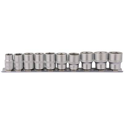 "Draper 3/8"" Sq. Dr. Socket Set on Metal Rail (10 Piece)"