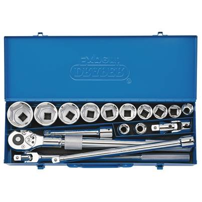 "Draper 3/4"" Sq. Dr. Metric Socket Set in Metal Case (17 Piece)"