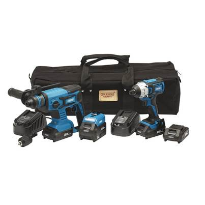 Draper D20 20V Impact Driver and SDS+ Drill Kit