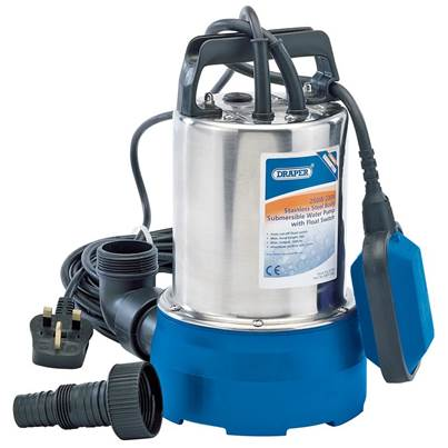 Draper 100L/Min Stainless Steel Submersible Water Pump with Float Switch (250W)