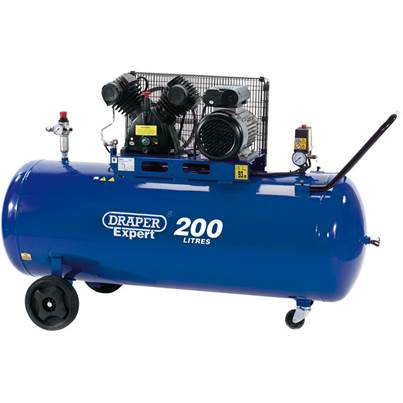 Draper 200L V-Twin Belt-Driven Air Compressor (2.2kW)