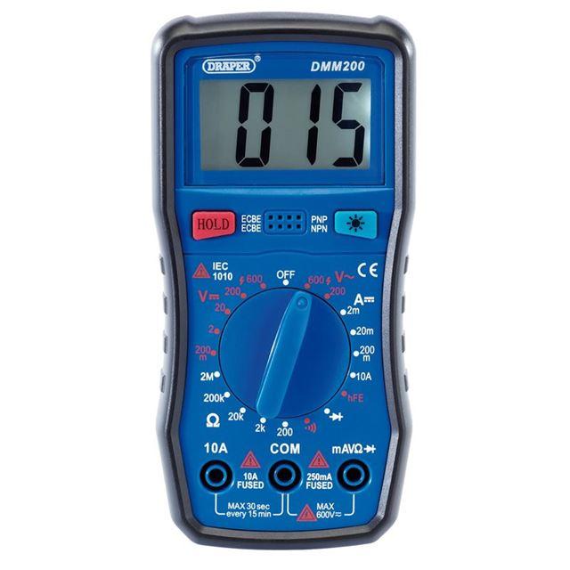 Draper Manual-Ranging Digital Multimeter, 1 x Test Leads, 1 x Case
