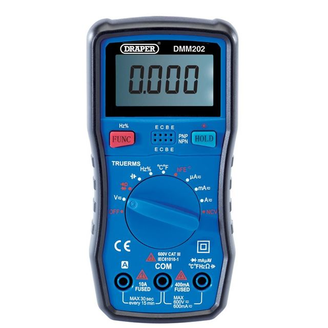 Draper Auto-Ranging Digital Multimeter, 1 x Test Leads, 1 x Case
