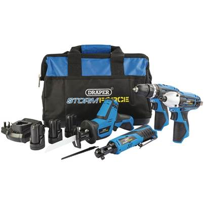 Draper Storm Force® 10.8V Power Interchange 4 Piece Kit (+3 x 1.5Ah Batteries, charger and Bag)