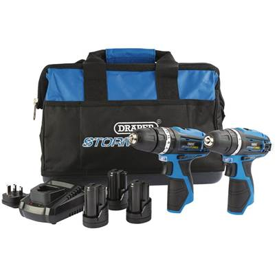 Draper Storm Force® 10.8V Power Interchange Combi Drill and Rotary Drill Twin Kit (+3 x 1.5Ah Batteries, Charger and Bag)
