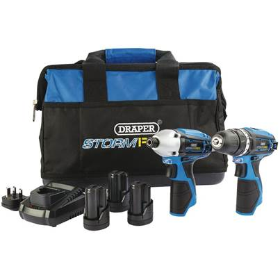 Draper Storm Force® 10.8V Power Interchange Drill and Driver Twin Kit (+3 x 1.5Ah Batteries, Charger and Bag)