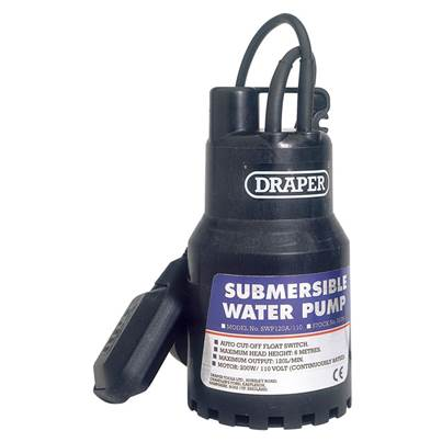 Draper 120L/Min 110V Submersible Water Pump with 6M Lift and Float Switch (200W)