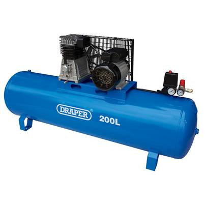Draper 200L Stationary Belt-Driven Air Compressor (2.2kW)