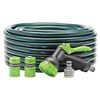 Draper 12mm Bore Garden Hose and Spray Gun Kit (30M)