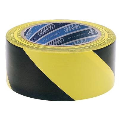 Draper 33M x 50mm Black and Yellow Adhesive Hazard Tape Roll