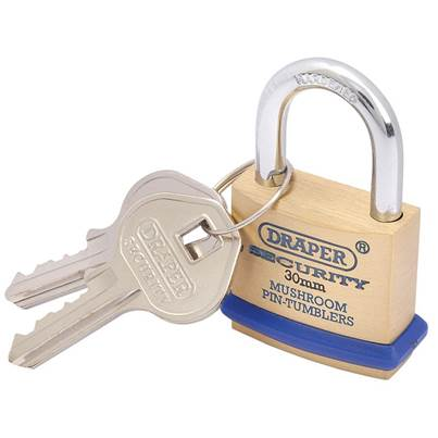 Draper 30mm Solid Brass Padlock and 2 Keys with Mushroom Pin Tumblers Hardened Steel Shackle and Bumper