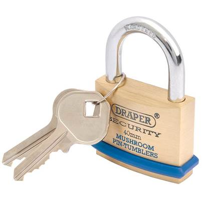 Draper 40mm Solid Brass Padlock and 2 Keys with Mushroom Pin Tumblers Hardened Steel Shackle and Bumper