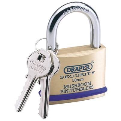 Draper 21mm Solid Brass Padlock and 2 Keys with Mushroom Pin Tumblers Hardened Steel Shackle and Bumper