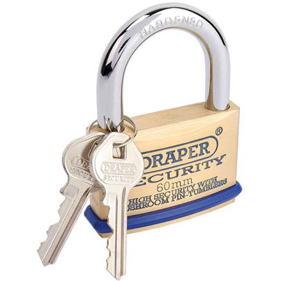 Draper 60mm Solid Brass Padlock and 2 Keys with Mushroom Pin Tumblers Hardened Steel Shackle and Bumper