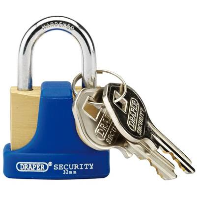 Draper 32mm Solid Brass Padlock and 2 Keys with Hardened Steel Shackle and Bumper