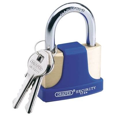Draper 52mm Solid Brass Padlock and 2 Keys with Hardened Steel Shackle and Bumper