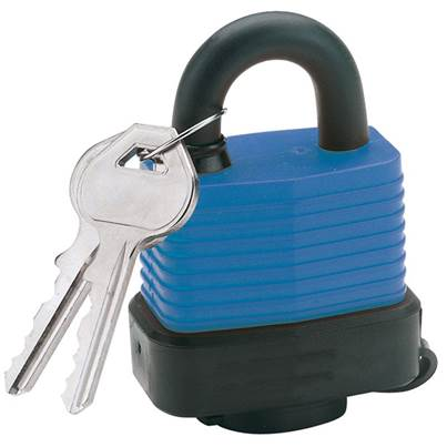 Draper 45mm Laminated Steel Padlock and 2 Keys with Hardened Steel Shackle and Bumper