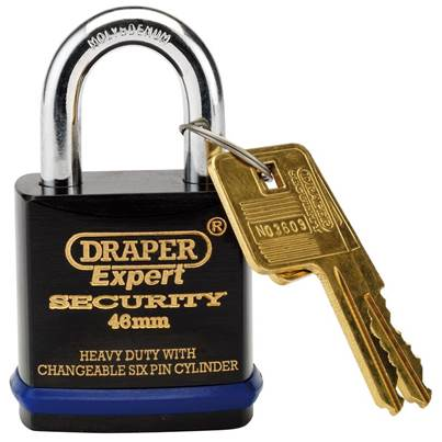 Draper 46mm Heavy Duty Padlock and 2 Keys with Super Tough Molybdenum Steel Shackle