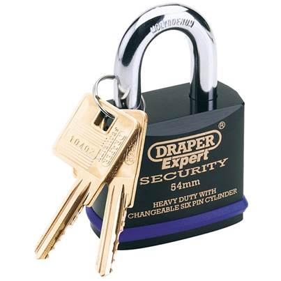 Draper 54mm Heavy Duty Padlock and 2 Keys with Super Tough Molybdenum Steel Shackle