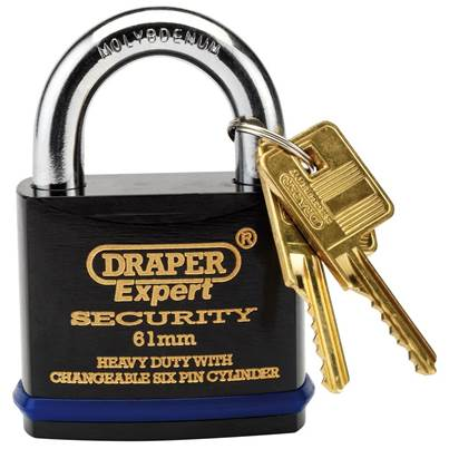 Draper 61mm Heavy Duty Padlock and 2 Keys with Super Tough Molybdenum Steel Shackle