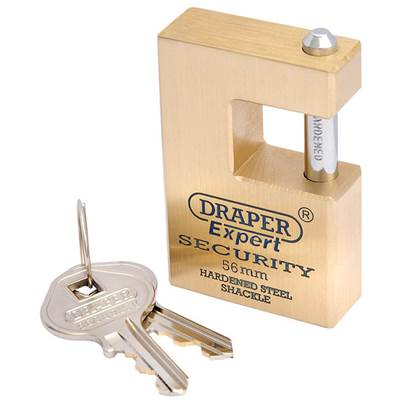 Draper 56mm Quality Close Shackle Solid Brass Padlock and 2 Keys with Hardened Steel Shackle