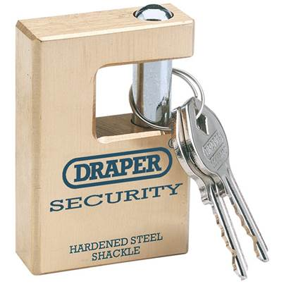 Draper 63mm Quality Close Shackle Solid Brass Padlock and 2 Keys with Hardened Steel Shackle