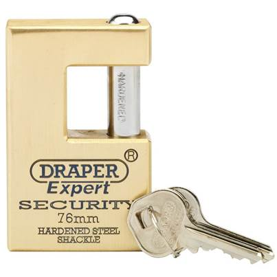 Draper 76mm Quality Close Shackle Solid Brass Padlock and 2 Keys with Hardened Steel Shackle