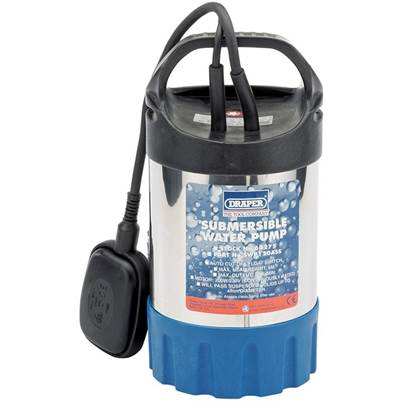Draper 120L/Min Stainless Steel Body Submersible Water Pump with Float Switch (200W)