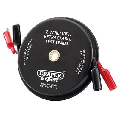 Draper 10ft 2 Wire Retractable Test Leads