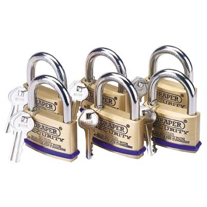 Draper Pack of 6 x 60mm Solid Brass Padlocks with Hardened Steel Shackle