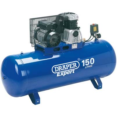 Draper 150L Stationary Belt-Driven Air Compressor (2.2kW)