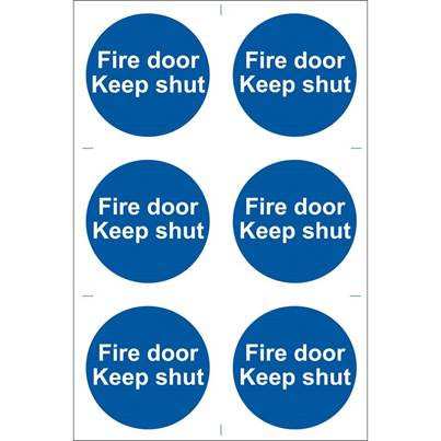 Draper 6 x 'Fire Door Keep Shut' Mandatory Sign