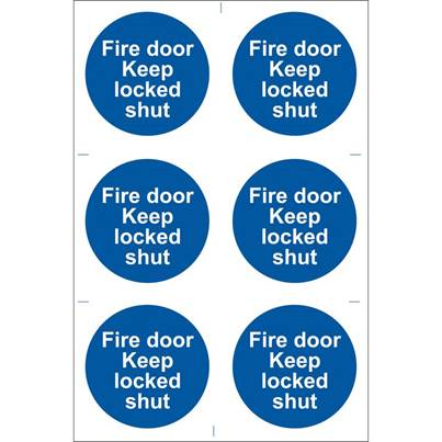 Draper 6 x 'Fire Door Keep Locked' Mandatory Sign