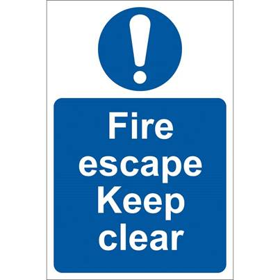 Draper 'Fire Escape Keep Clear' Mandatory Sign