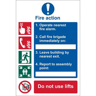 Draper 'Fire Action Procedure' Mandatory Sign