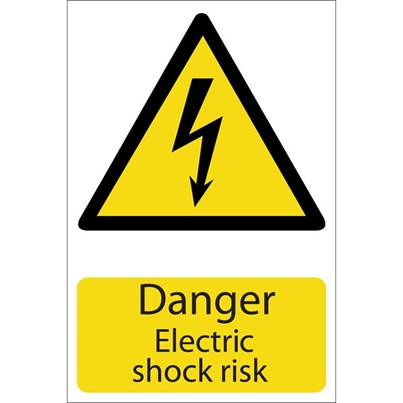 Draper 'Danger Electric Shock' Hazard Sign