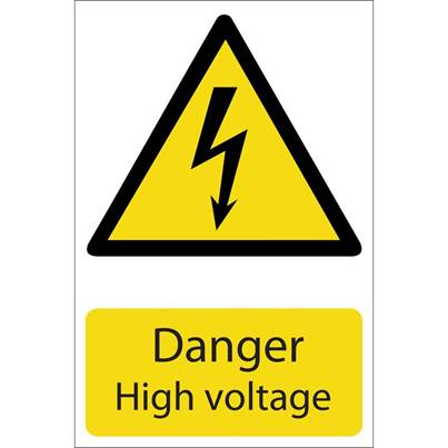 Draper 'Danger High Voltage' Hazard Sign