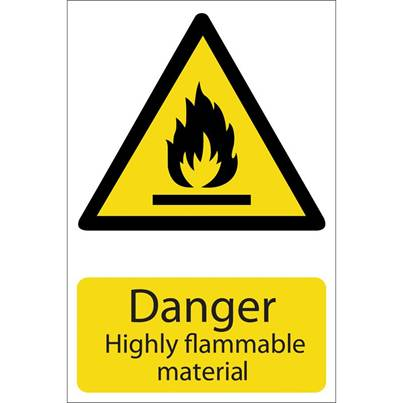 Draper 'Danger Flammable Material' Hazard Sign