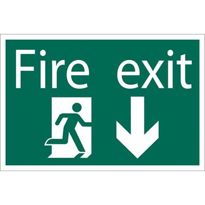 Draper Fire Exit Arrow Down' Safety Sign