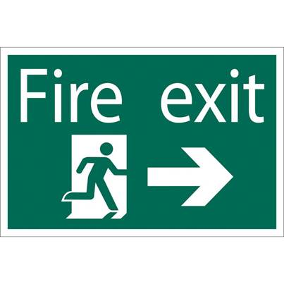 Draper Fire Exit Arrow Right' Safety Sign