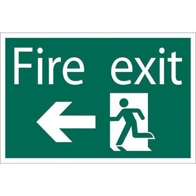 Draper Fire Exit Arrow Left' Safety Sign