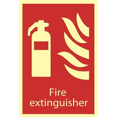 Draper Glow In The Dark 'Fire Extinguisher' Fire Equipment Sign