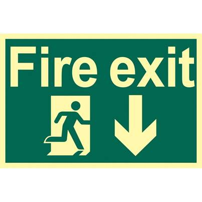 Draper Glow In The Dark 'Fire Exit Arrow Down' Safety Sign