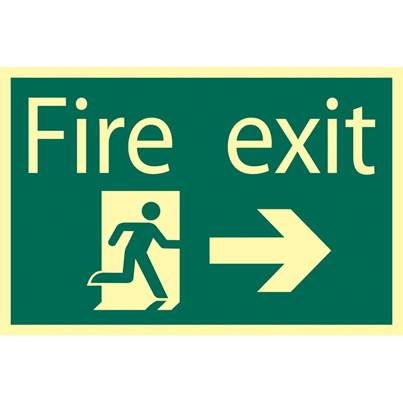 Draper Glow In The Dark 'Fire Exit Arrow Right' Safety Sign