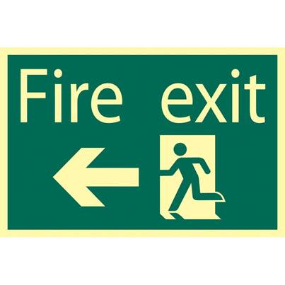 Draper Glow In The Dark 'Fire Exit Arrow Left' Safety Sign