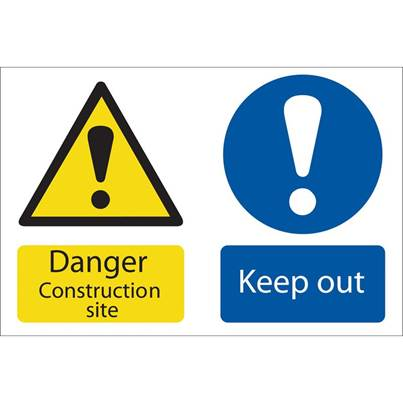 Draper 'Danger Construction Site' Hazard Sign